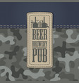 leather beer label on a camo and denim background vector image vector image