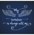 Lettering hand drawn quote with angel wings vector image