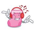 listening music sock mascot cartoon style vector image