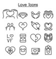 love icon set in thin line style vector image vector image