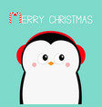 merry christmas penguin head face red headphones vector image vector image