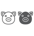 pig line and glyph icon animal and farm piggy vector image vector image
