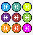 Pisces zodiac sign icon sign Nine multi colored vector image vector image