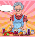 pop art senior woman homemade jam healthy eating vector image