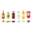 sauce mock up set hot chilli soy ketchup vector image vector image