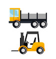 set construction vehicle transport work machine vector image vector image