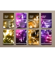 Set of brochure poster design templates in neon vector image