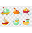 set of colorful wooden ships with cute faces vector image