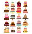 set of twenty sweet birthday cakes vector image vector image