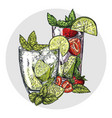 set two mojito cocktails vector image