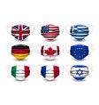 set various face masks with different flags vector image