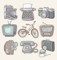 set vintage items icons vector image vector image