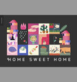simple things - home composition on black vector image vector image