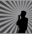 singer in silhouette with ray on background for vector image