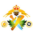 sketch of tattoo with a crown and a baseball bat vector image vector image