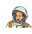 smiling woman astronaut isolate on white vector image vector image