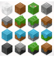 Textured Cubes Mine Elements Builder Craft Kit vector image vector image