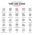 thin line online shopping and e-commerce icons set vector image