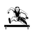 Track and Field Athlete Jumping Hurdles vector image vector image