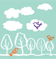 trees and birds hand drawn vector image vector image