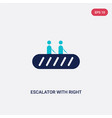 two color escalator with right arrow icon from vector image vector image