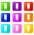 two sticks ice cream icons set 9 color collection vector image vector image