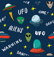 ufo and aliens seamless pattern cute doodles vector image