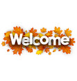 welcome banner with orange leaves vector image vector image