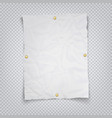 white crumpled sheet paper holding buttons on a vector image vector image