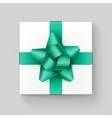 White Square Gift Box with Emerald Ribbon Bow vector image vector image