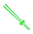wooden chopsticks in green design vector image vector image