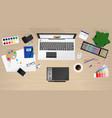 workplace of office worker designer vector image vector image