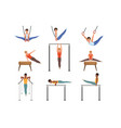young guys training on various gymnastics vector image