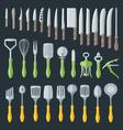 flat kitchenware cutlery tools set vector image