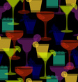 cocktail silhouettes dark seamless pattern vector image