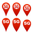 5g pointer sign set red icon internet wi vector image