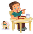 a little boy eating vector image