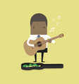 african businessman playing guitar for money vector image