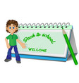 back to school boy and calendar image vector image