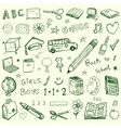 Back to school doodles set vector image