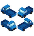 blue truck in four different angles vector image vector image