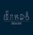 brew bar set of white linear icons about vector image
