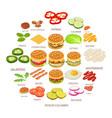 burger ingredient icons set isometric style vector image