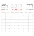 calendar planner 2017 august week starts sunday vector image vector image