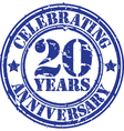 Celebrating 20 years anniversary grunge rubber st vector image vector image
