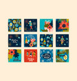 christmas cards with dancing women and new year s vector image