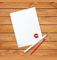clean sheet with red kissmark fountain pen and vector image vector image