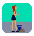 cleaning woman with mop and bucket vector image