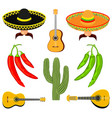 colorful cartoon 8 mexican elements vector image vector image