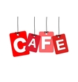 colorful hanging cardboard Tags - cafe vector image vector image